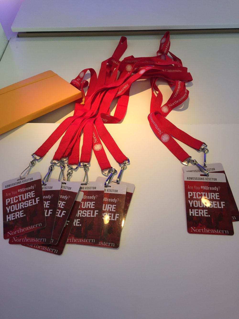 "Northeastern University offers a swanky ID badge and lanyard which reads ""Admissions Visitor."""