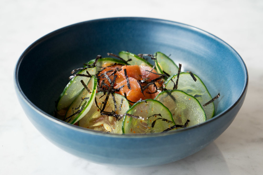 Spicy Tamarind and Tuna Ceviche Pickled Cucumber, Sesame, Ginger, Nori, and Red Shiso 2.jpg