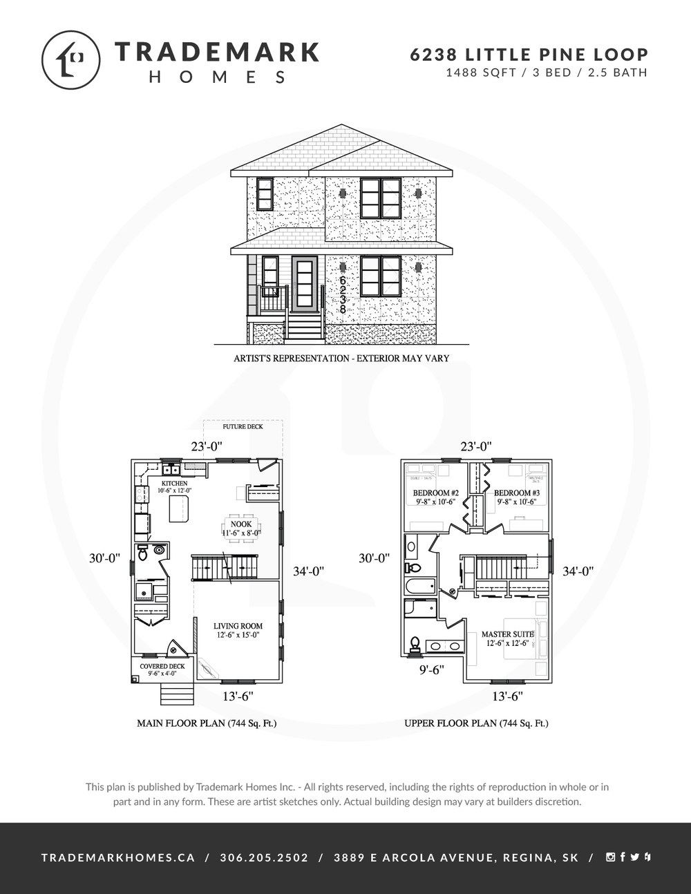 6238 Little Pine Loop - Skyview - Floorplan - Regina Home Builder