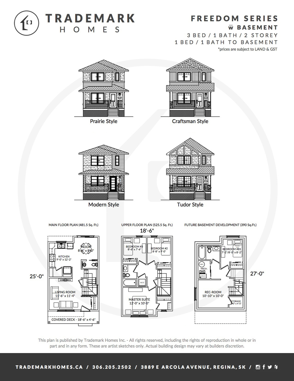 Freedom Series - 2 Storey - with basement - Floorplan - Regina Home Builder