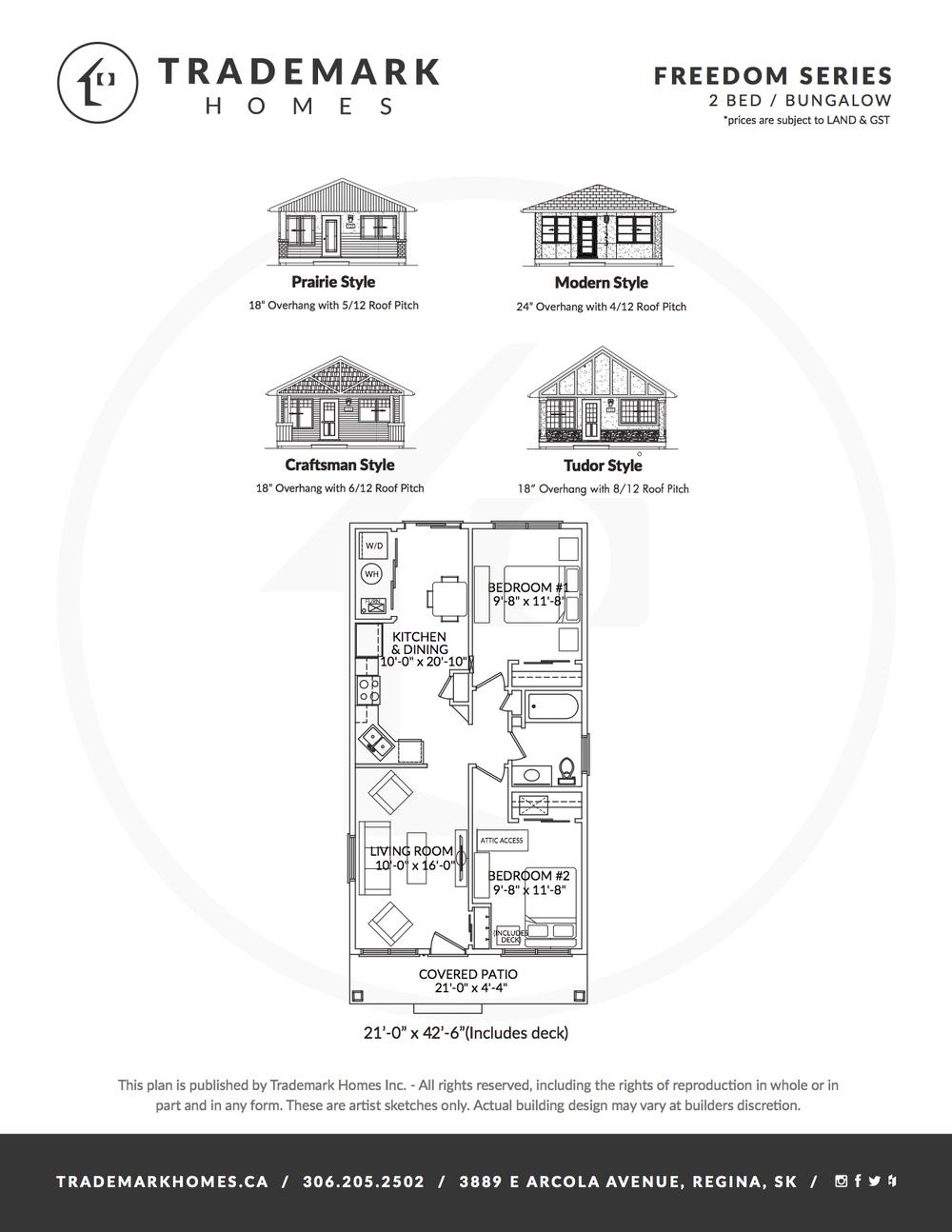 Freedom Series - 2 Bedroom Bungalow - Floorplan