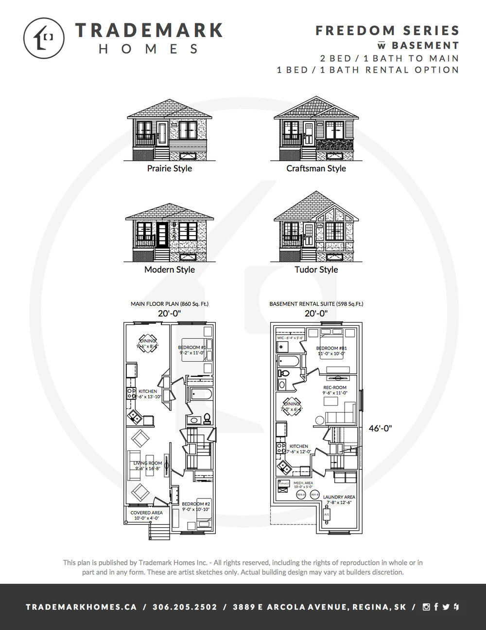 Freedom Series - With basement - Floorplan - Regina Home Builder