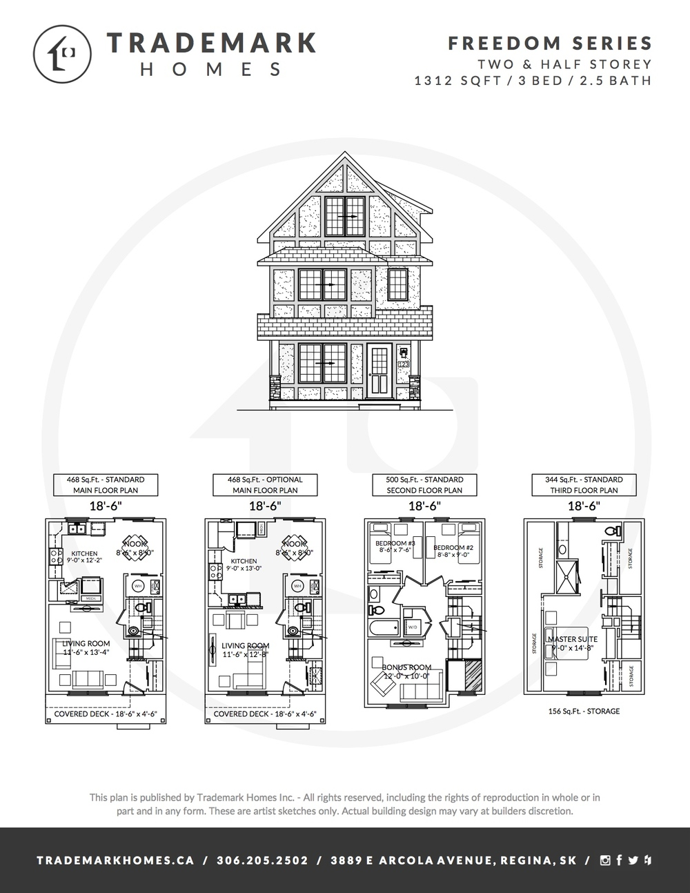 Freedom Series - 2 & Half Storey - Floorplan - Regina Home Builder
