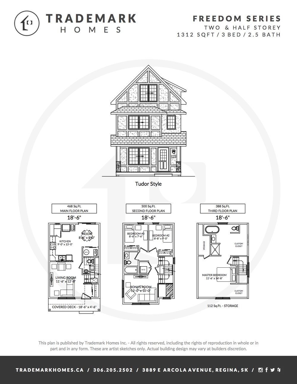 Freedom Homes - 2 & Half Storey - Floorplan - Westerra - Regina Home Builder