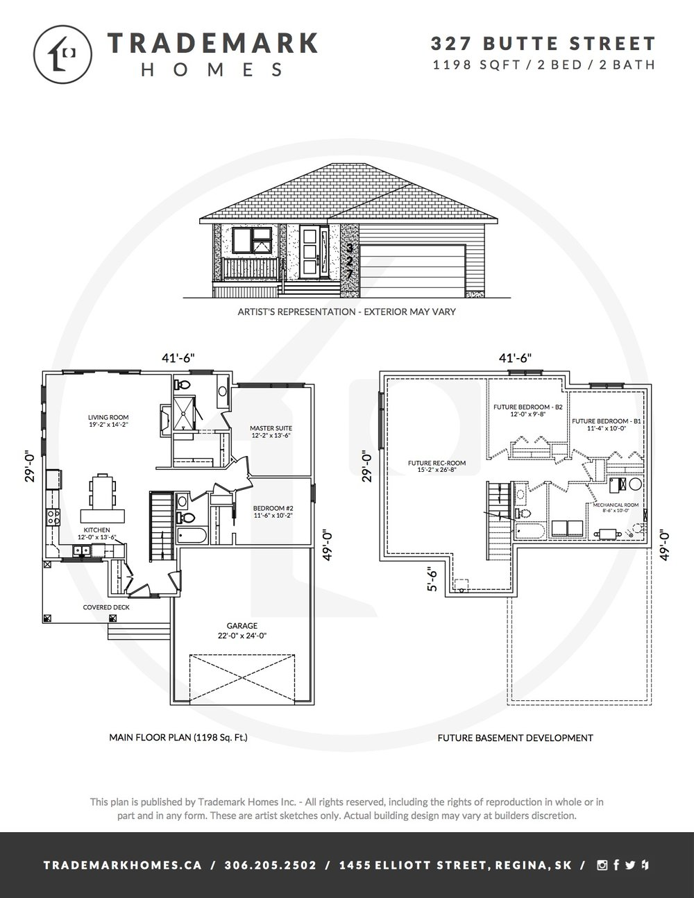 Trademark Homes 327 Butte Street Pilot Butte Floor Plan