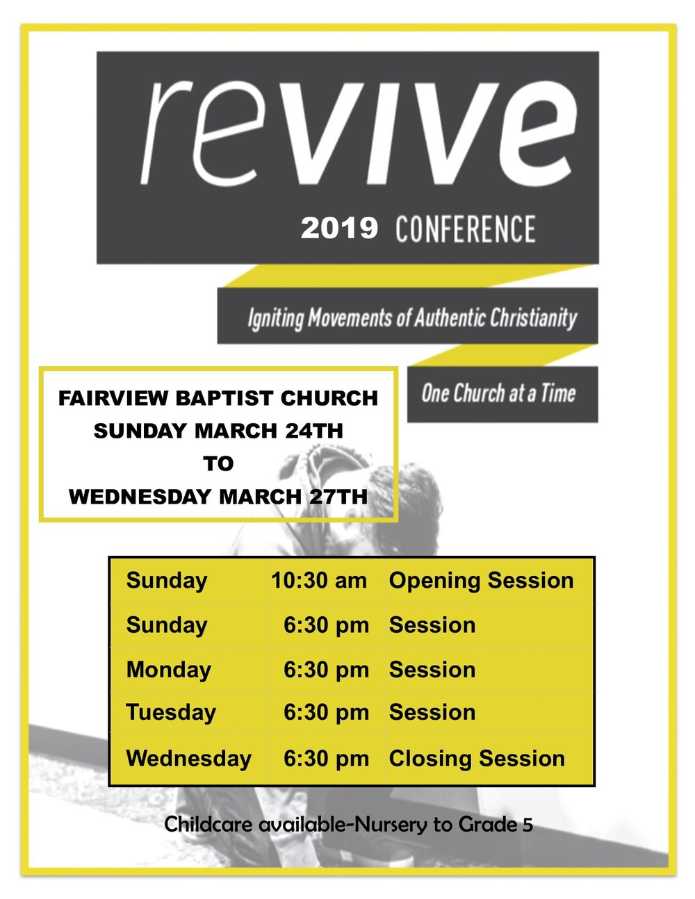 Revive Conference March 24-27 - Life Action's Revive Conference aims to create a context where the people of your church are encouraged to seek and obey God. Our content focus for the conference revolves around God's Word, providing a Bible-centered look at core revival principles (such as humility, honesty, repentance, and prayer).