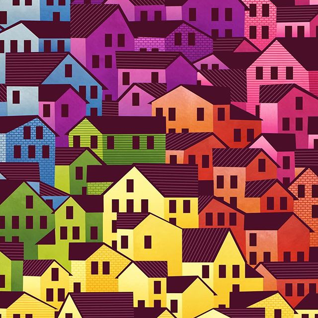 It sounds terrible, but I'm not actually a big fan of rainbows. Here's a try anyway. . . . #wontyoubemyneighbor  #illustration #illustrator #illustratorsoninstagram #patterndesign #neighbors #neighborhood #surfacedesign  #rainbow #pattern #housepattern