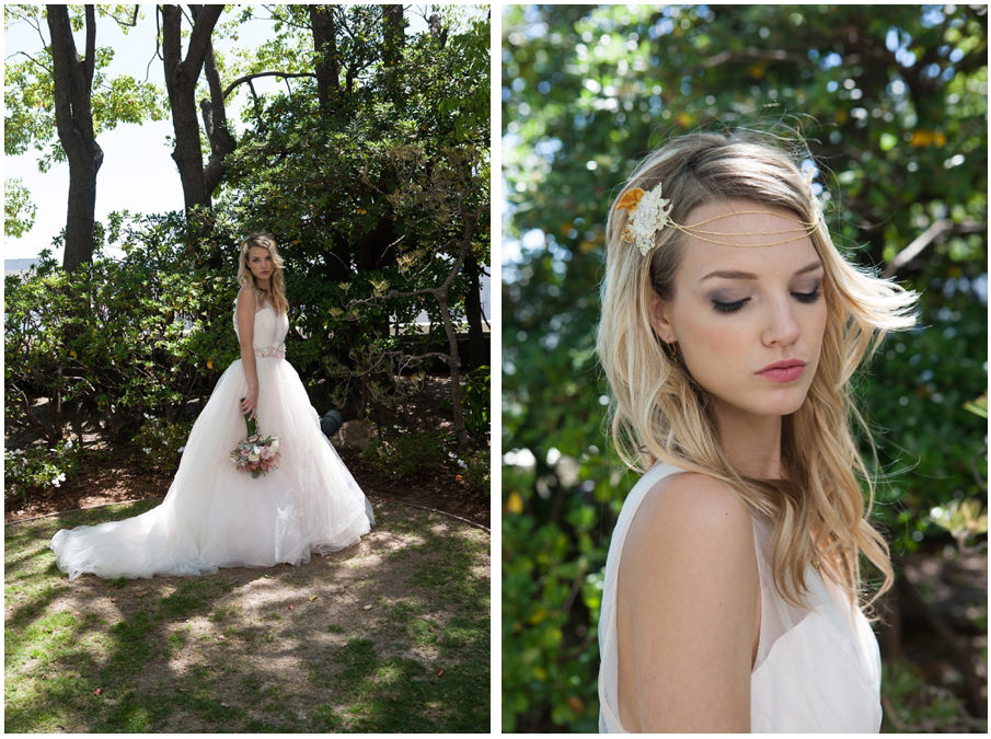 Ferndales bridal blush wedding dress at DoubleTree Hilton Downtown LA - Kyoto Gardens Wedding