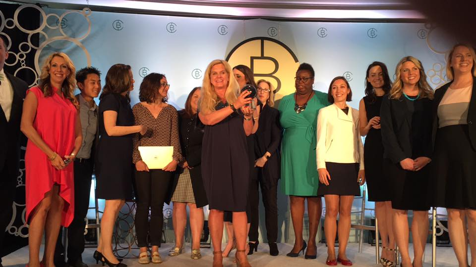 Dr Ann-Christine Langselius sure knows how to pitch - and win! Here, accepting the winner's award at the 2016 Circular Board pitch competition with The UN, Dell, Johnson & Johanson and The Guggenheim Foundation.