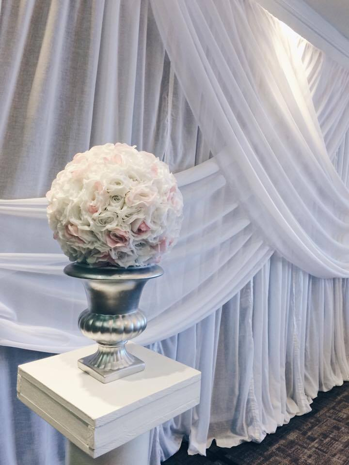 White Draped Backdrop | Evelyn's Decorating