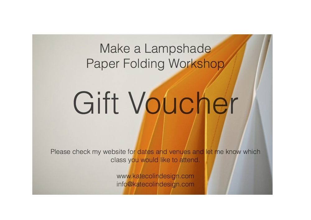 Workshop Gift Vouchers KATE COLIN DESIGN