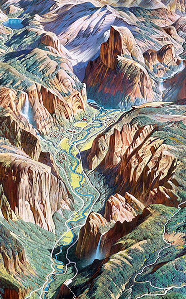 1. Yosemite Valley (detail) by H.C. Berann