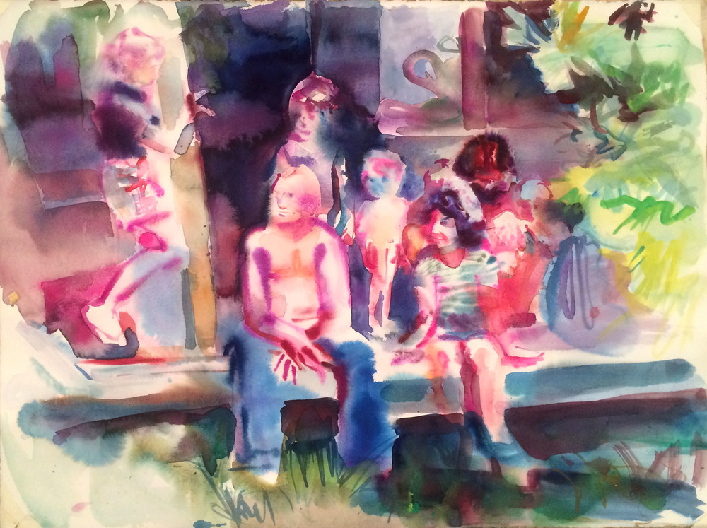 The Porch , 2016, Gouache on paper, 18 x 24 in