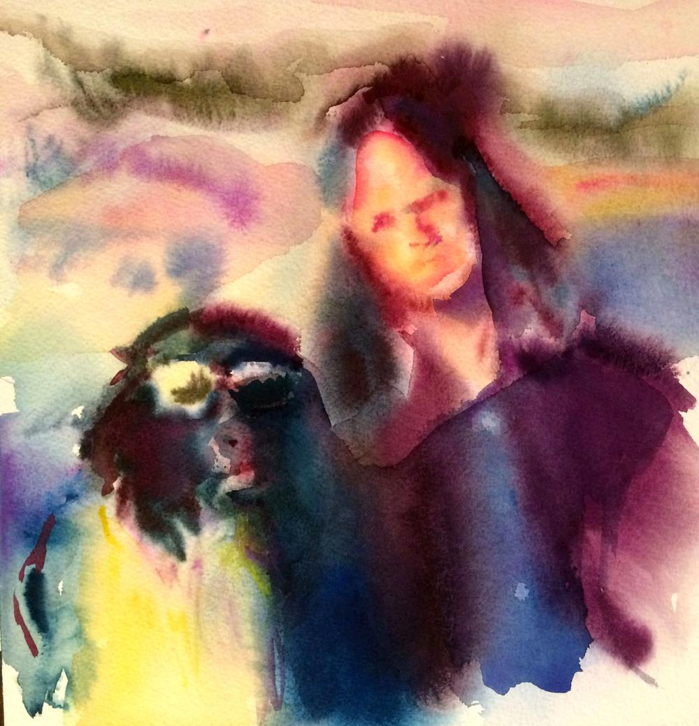 Sunglass Wearin' Dog , 2016, Gouache on paper, 12 x 12 in