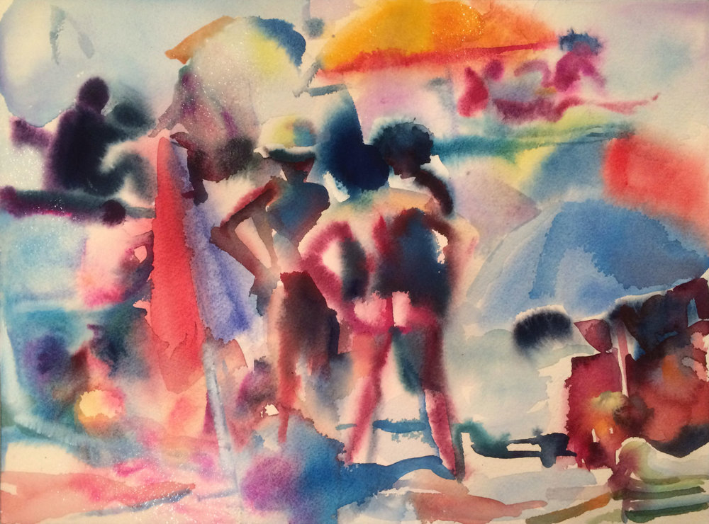 Beach Bums 2 , 2016, Gouache on paper, 12 x 16 in