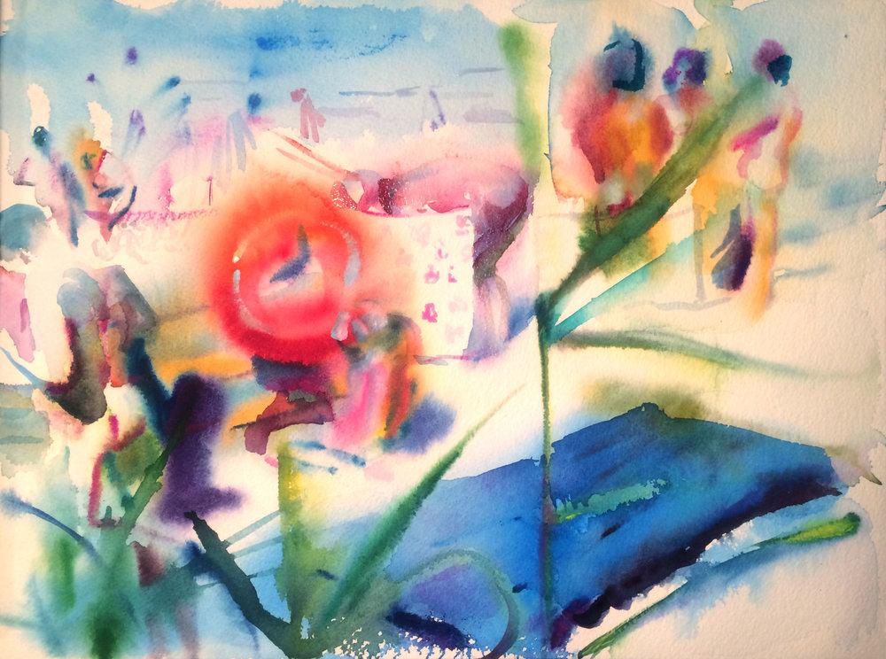 Inner Tube of Life , Gouache on paper, 12 x 16 in