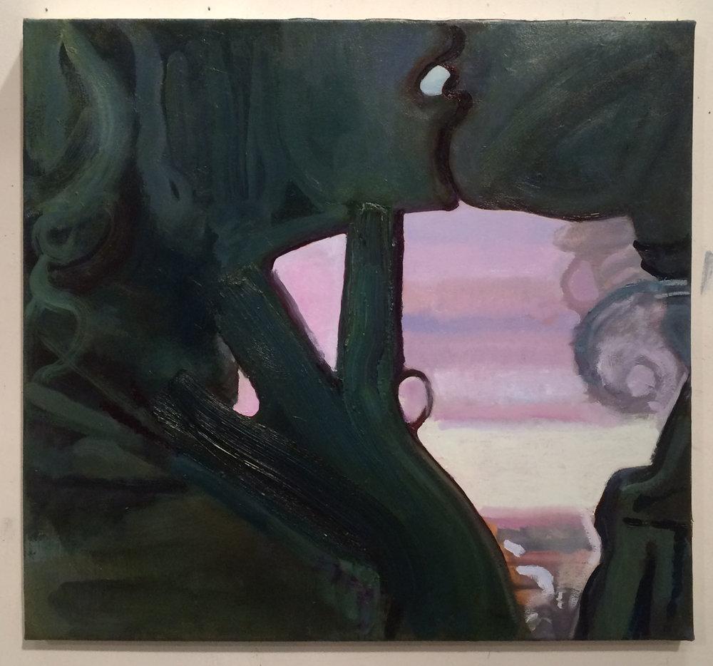 Frankenstein Kiss , 2015,Oil on canvas, 32 x 34 in