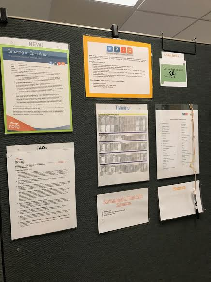 Hoag was switching to a new operating system known as EPIC. As part of my  Clinical Management  rotation, I created an information board for food and nutrition staff to keep up to date on all EPIC changes and launch dates.