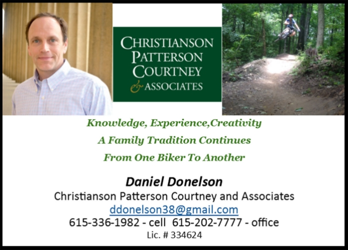 Daniel Donelson  has pledged to make a donation for any business transactions with current SORBA Members. Daniel is a long time member of SORBA mid TN, a Local Trail Boss, and a regular on the trails. He would like to earn your real-estate business and help support trail advocacy at the same time. Please find his contact information above, or click the image for his website. Below is a quick edit Daniel helped us produce in the spring of 2016.
