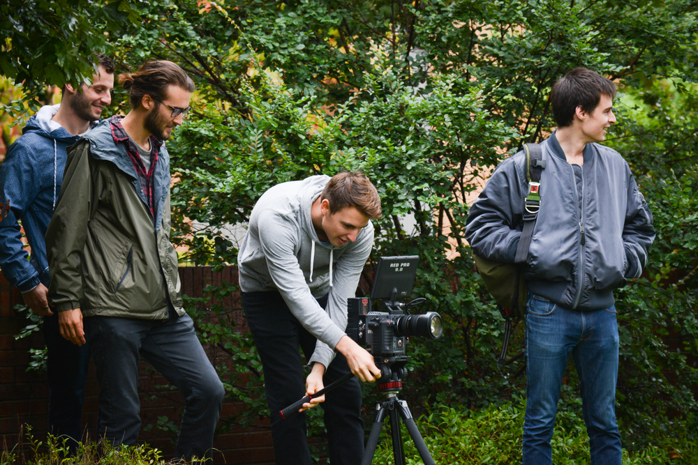 Woodwalk sets up a shot for SWAP Sock commercial in Chapel Hill