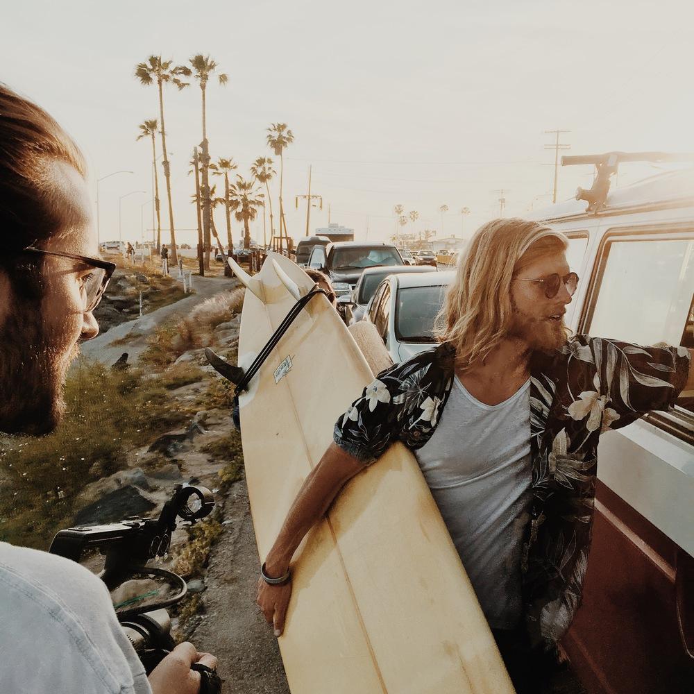 Woodwalk behind the scenes Malibu sunset