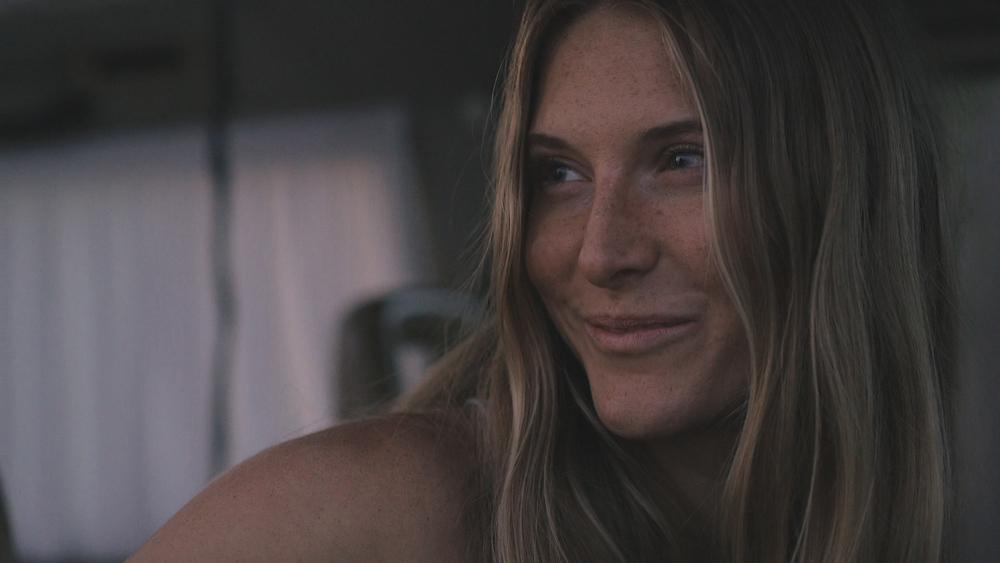 California hippie girl in van