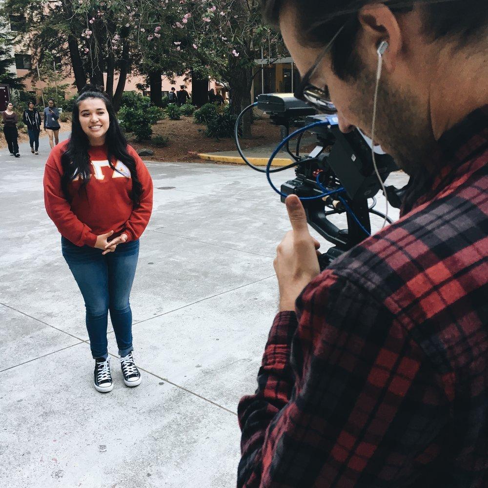 MTV film crew college campus behind the scenes woodwalk