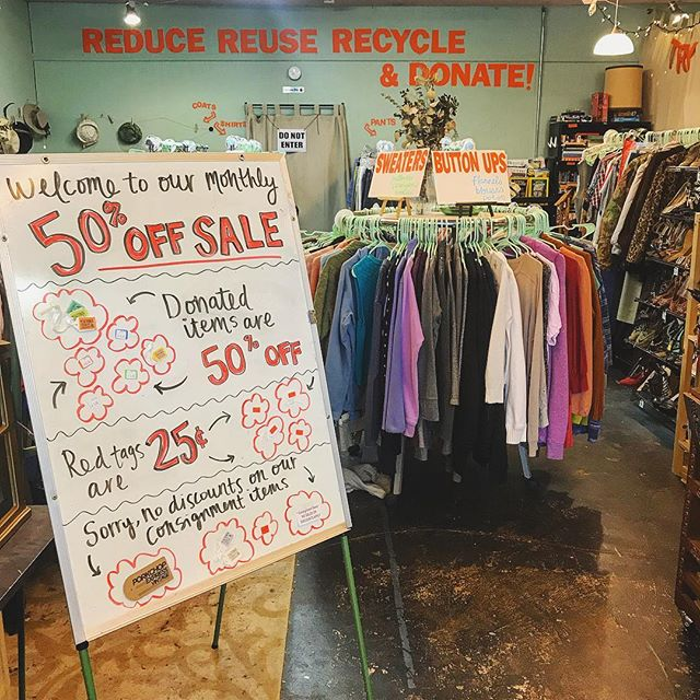 50% OFF DONATED ITEMS TOMORROW AND SUNDAY! Plus $.25 red tags for the first time ever! We made this handy sign so you all know exactly where the deals are. Help us make some room for new inventory! #saleday #weekendsale #tacoma #thrift #thriftstore #thriftshop #thriftstorefinds #deals #bargains #thrifty #shopsmall #shoplocal #supportlocal #smallbusiness