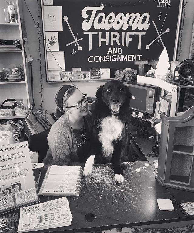 My goofy pup and I are taking a personal day today. Running this business is a labor of love but the last few weeks have been particularly challenging. See you tomorrow 11-6 and Sunday 11-5! Thanks for understanding ❤️ #smallbusiness #bordercollie #thriftstore #thriftshop #tacoma #womanowned #womanownedbusiness #thrift #familyowned #shopsmall #shoplocal #momandpop #supportlocal
