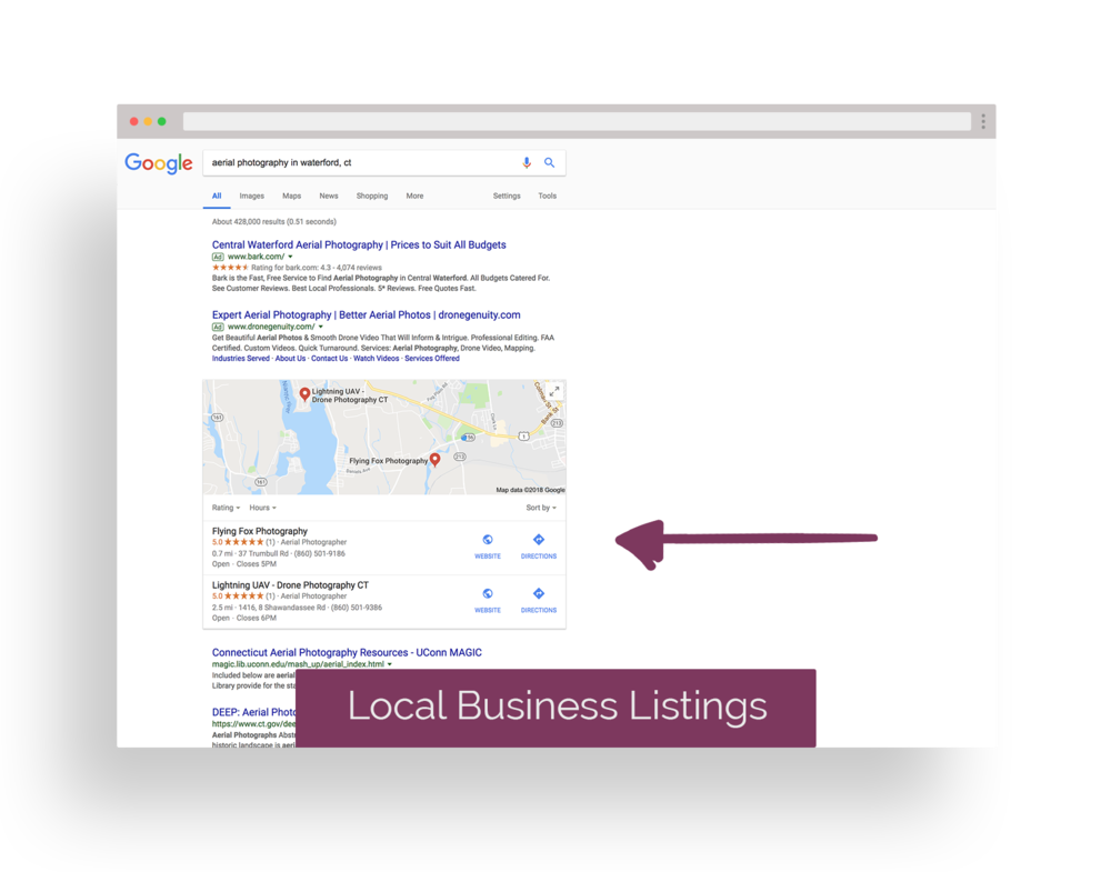 LOCAL BUSINESS LISTINGS - the top local search results for the search term used.