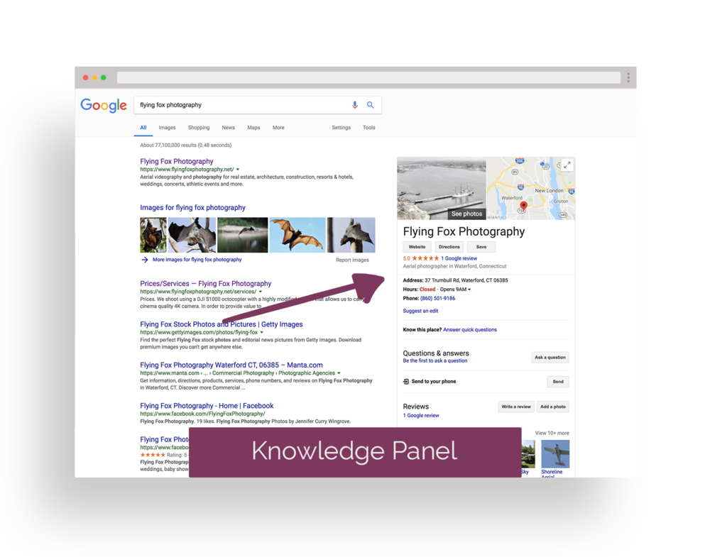 KNOWLEDGE PANEL - the panel of information located to the right of the Google search results that displays information about your business.