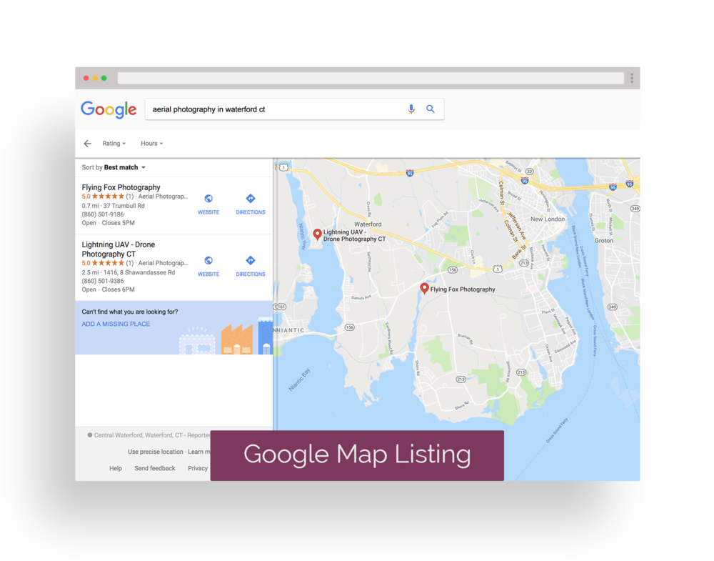 GOOGLE MAP LISTING - displays the location of your business on a Google map along with other businesses listed for the searched term.