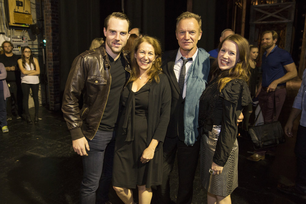 Photo: BW Productions. Left to right: Bryant Martin, Karen Azenberg, Sting, Ruthie Darling