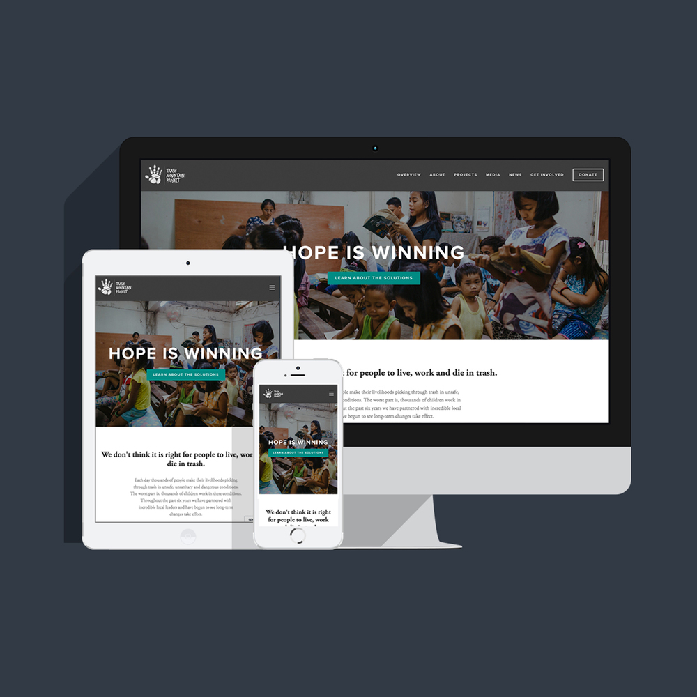 Built the website for Trash Mountain Project on a Squarespace platform along with all accompanying graphics.