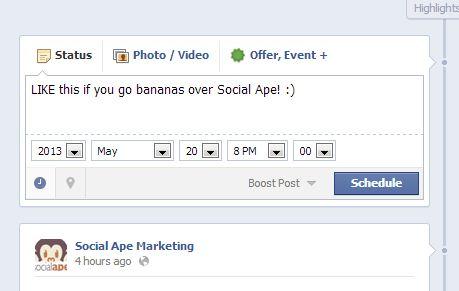 Screen shot FB scheduler