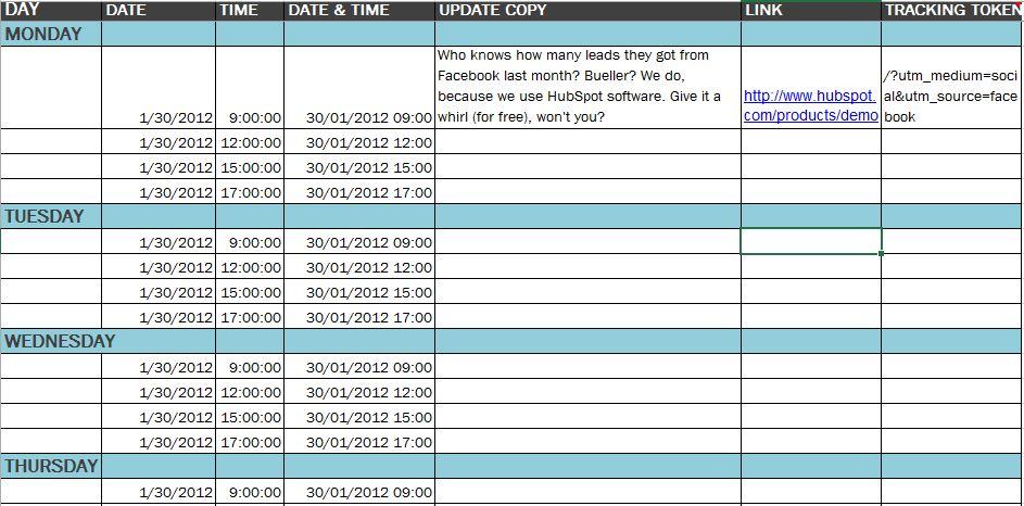Detailed sample content calendar from Hubspot