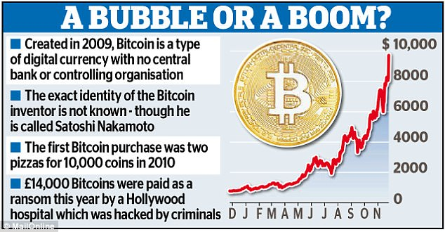 Bitcoin beats a new record and reaches $19,000                                  Credits: www.dailymail.co.uk