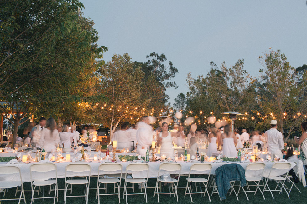 white dinner dusk photo hand made events bay area California