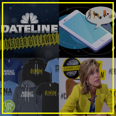 """EXCLUSIVE EXTRAS  Tons of sweepstakes, contests and giveaways are offered exclusively to Insiders. You can earn real rewards just by engaging and completing challenges.  Current giveaways include: Dateline NBC swag bundle, including autographs, a mug, blanket, tote bag, hoodie and more. And a """"Cold Justice"""" gift pack from Oxygen's new online store, ShopOxygen.com, including a T-shirt, wine glass, travel mug and hooded sweatshirt signed by Kelly Siegler.  Additional Insider benefits include: access to tickets for private CrimeCon events, a 10% discount at the CrimeCon online merchandise store, a downloadable CrimeCon emoji keyboard and much more!"""