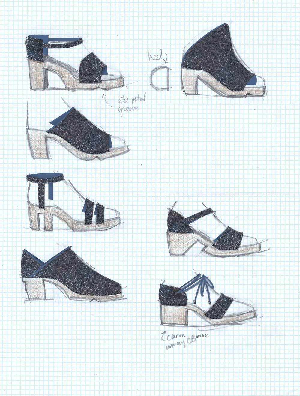 Sketching for high heel biking shoes