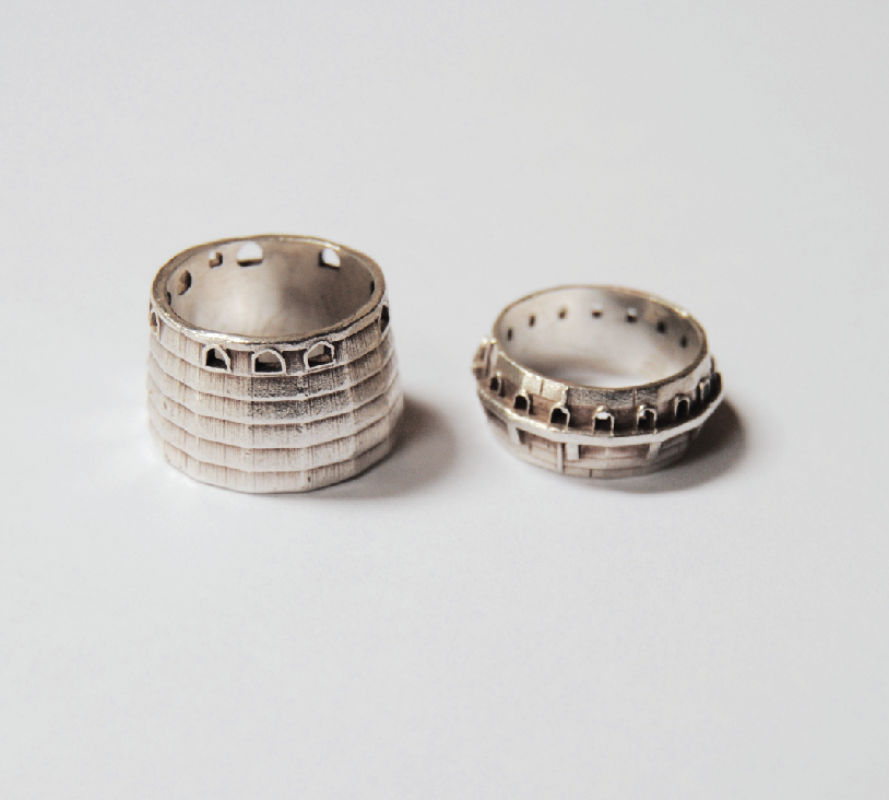 Dovecote rings sterling silver by Leanne Luce at RISD