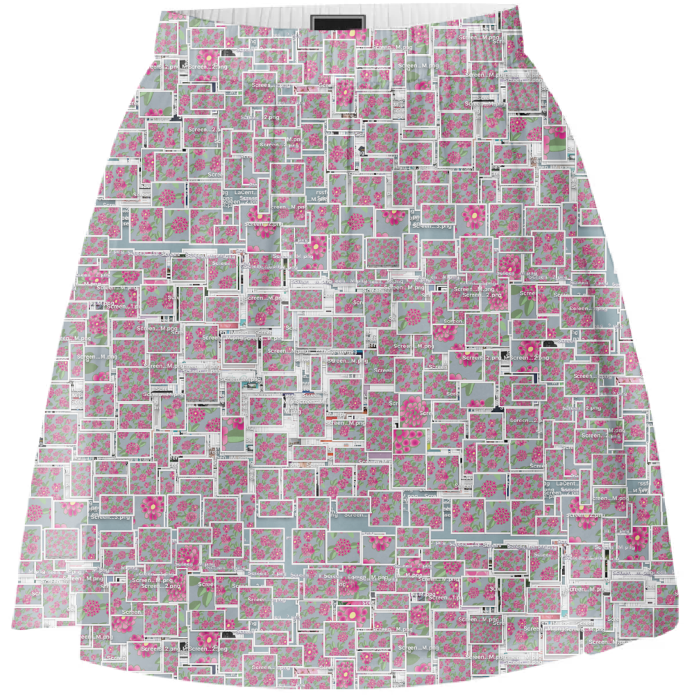 Print all over me summer skirt with future floral desktop Dystopia by Leanne Luce