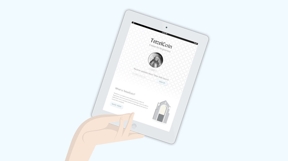 tetzelcoin ipad mockup website presentation