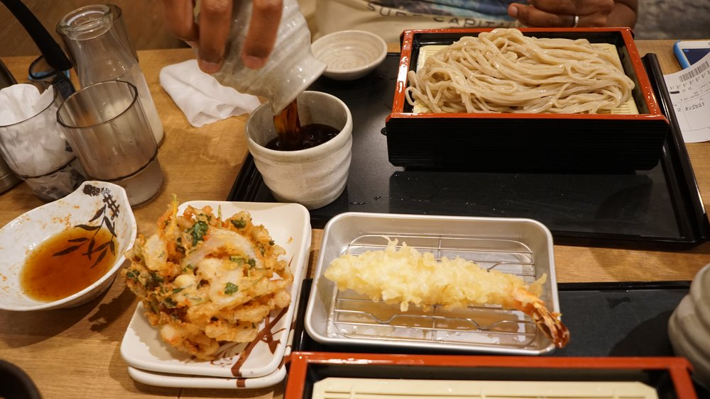 Lunch for four: soba, tempura, a bowl of rice and pork was less than 2000 yen at Omiya, Saitama (40 kms from Central Tokyo).