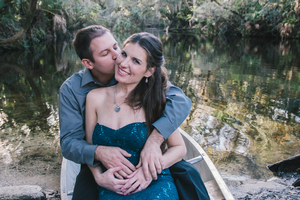 Tampa romantic canoe engagement session