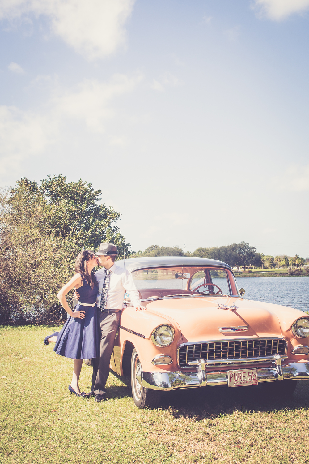 Tampa engagement session, Tampa vintage engagement session, vintage style engagement theme