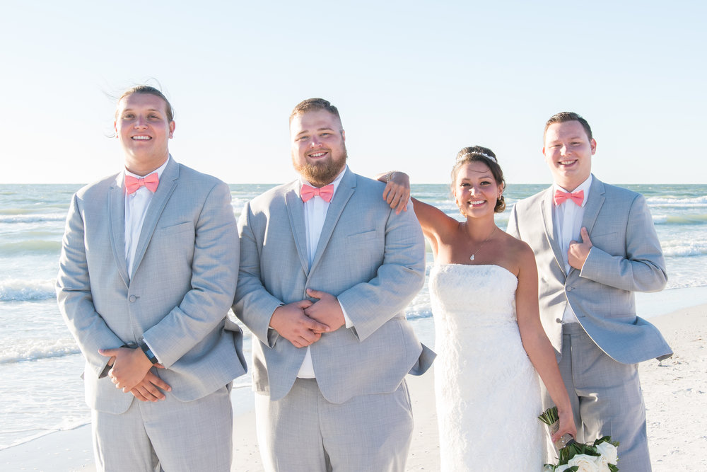 Groomsmen & bride, St.Pete wedding photographer, St.Pete wedding, St.Pete beach, tide the knot beach weddings, mir salgado photography, Tampa wedding photographer