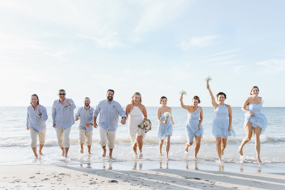Beach-wedding-photography, bridal-party-beach-wedding