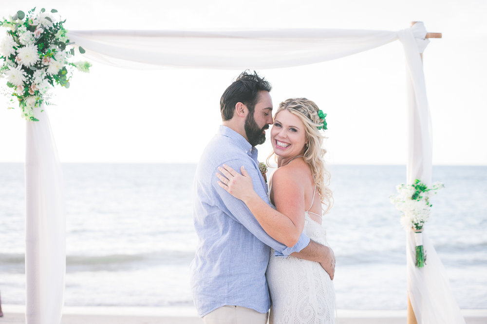 bride-and-groom-beach-wedding, beach-wedding-tide-the-knot