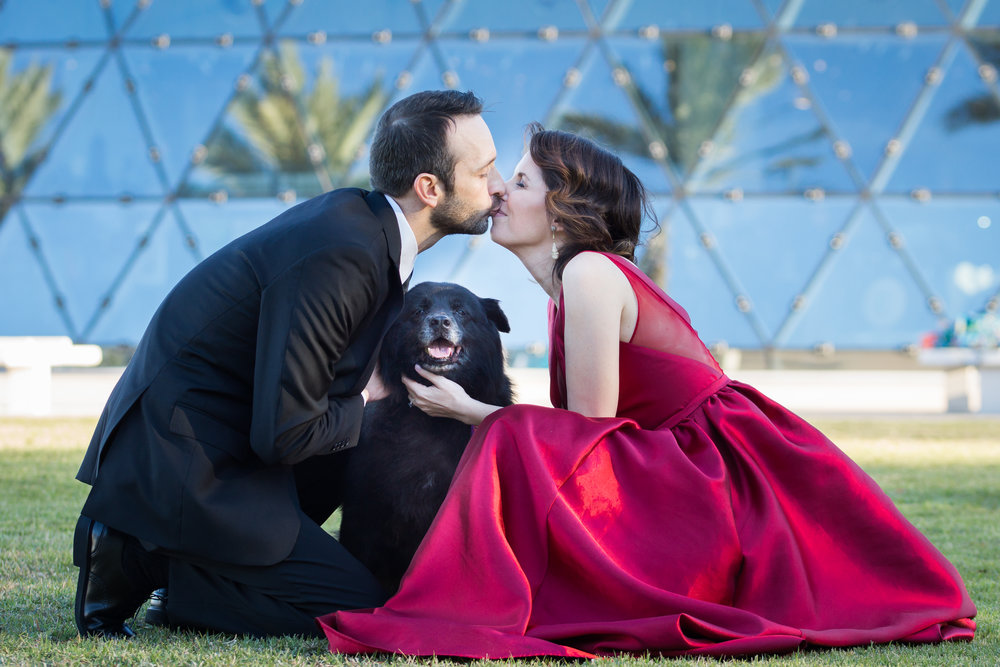 dali-museum-engagement, St.Pete-engagement-session, Engagement-session-with-dogs